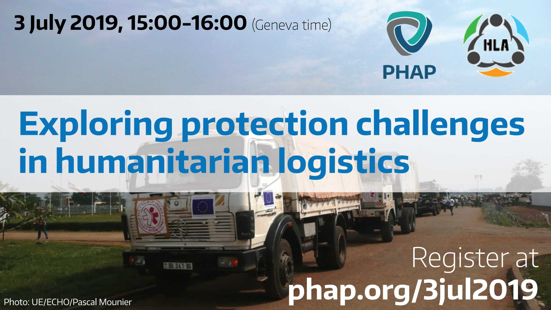 Banner for the webinar Exploring protection challenges in humanitarian logistics
