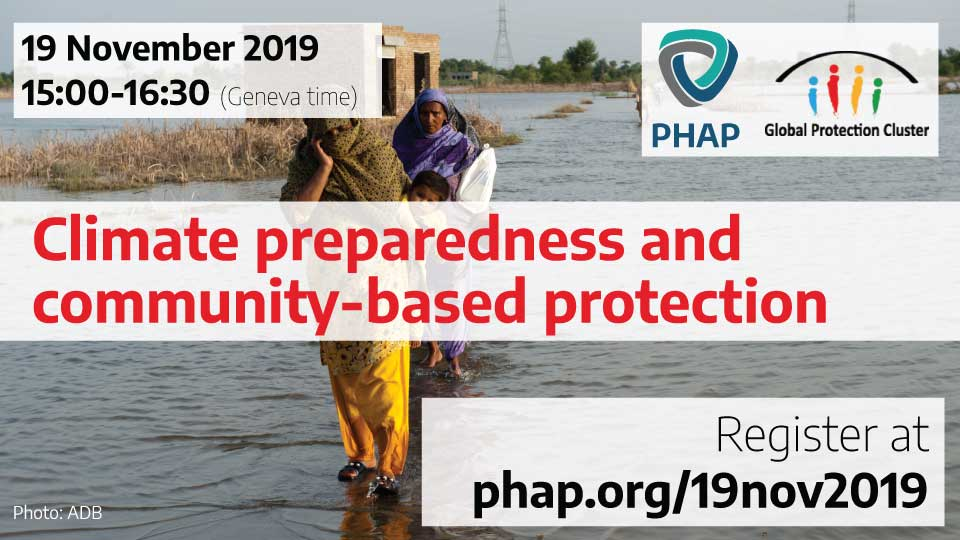 Banner for the webinar Climate, preparedness, and community-based protection