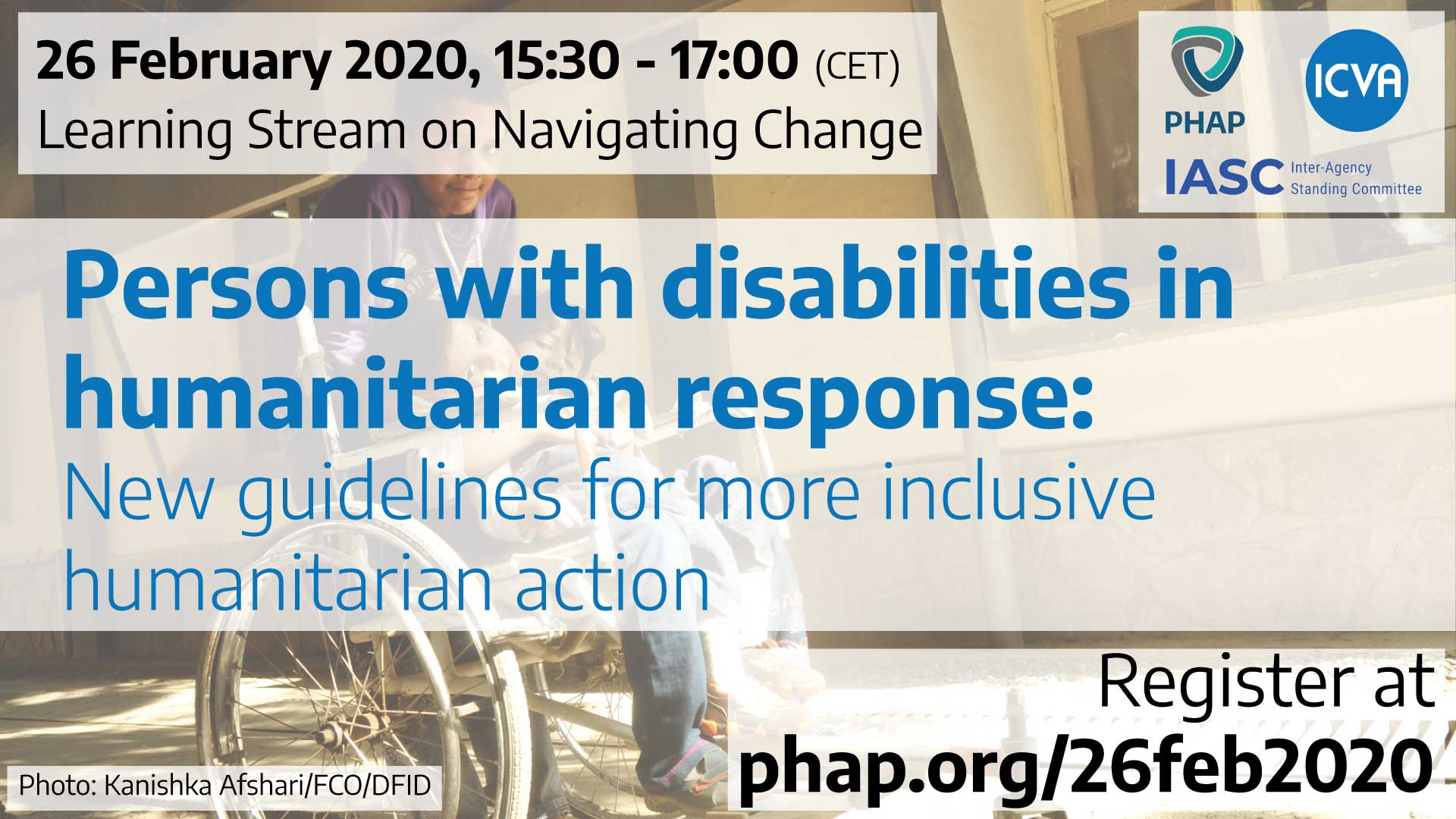 Banner for the webinar Persons with disabilities in humanitarian response: New guidelines for more inclusive humanitarian action