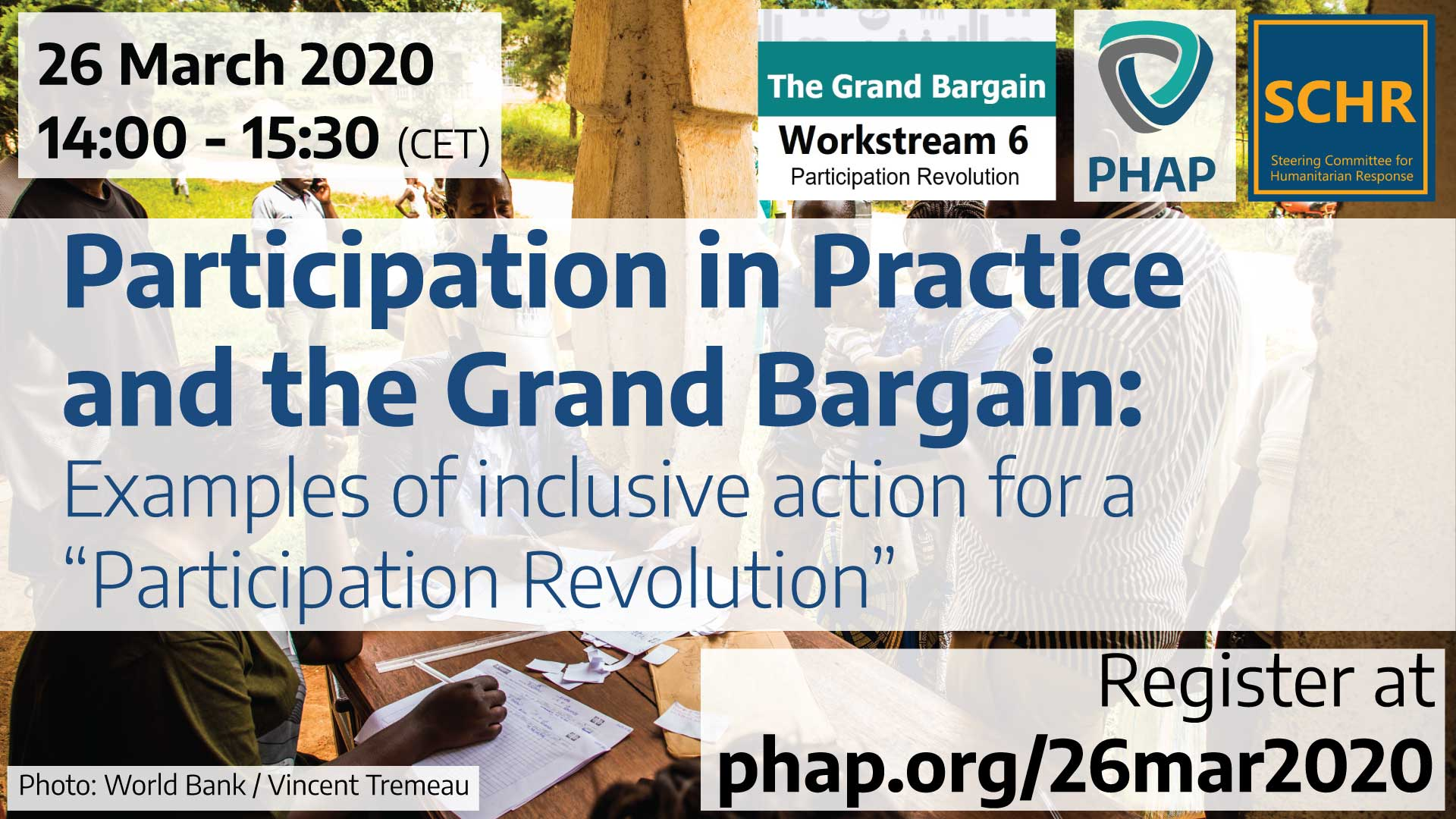 "Banner for the webinar Participation in Practice and the Grand Bargain: Examples of inclusive action for a ""Participation Revolution"""