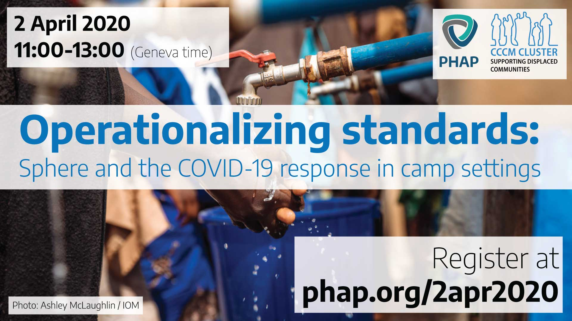 Banner for the webinar Operationalizing standards: Sphere and the COVID-19 response in camp settings