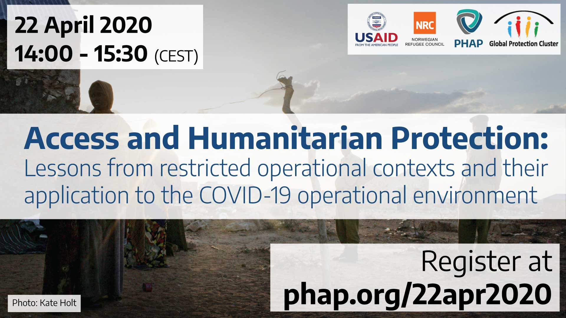 Banner for the webinar Access and Humanitarian Protection: Lessons from restricted operational contexts and their application to the COVID-19 operational environment