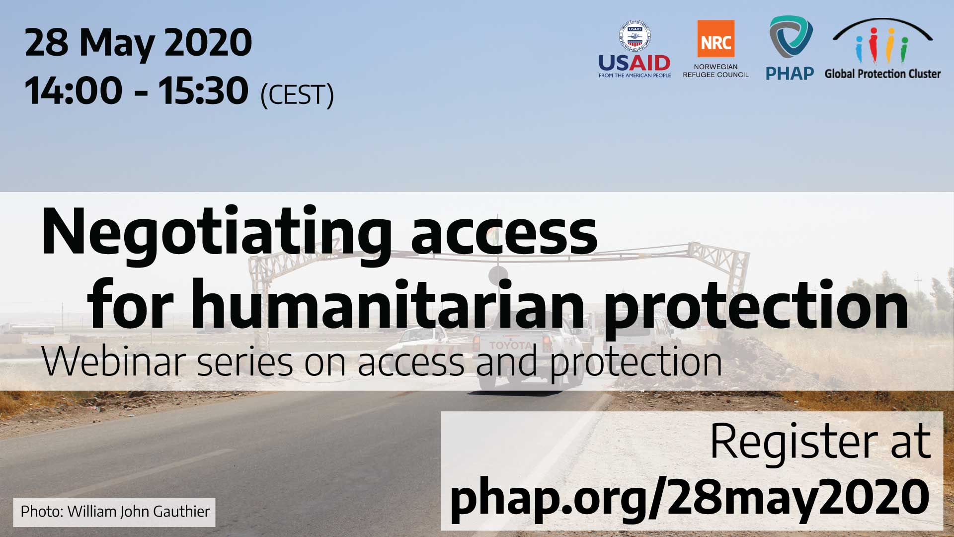 Banner for the webinar Negotiating access for humanitarian protection