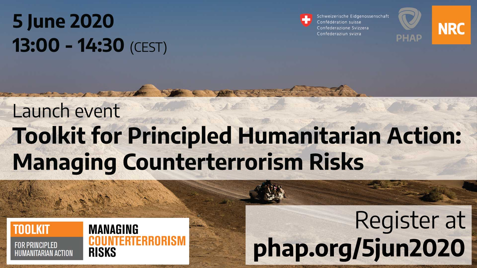 Banner for the webinar Launch event: Toolkit for principled humanitarian action