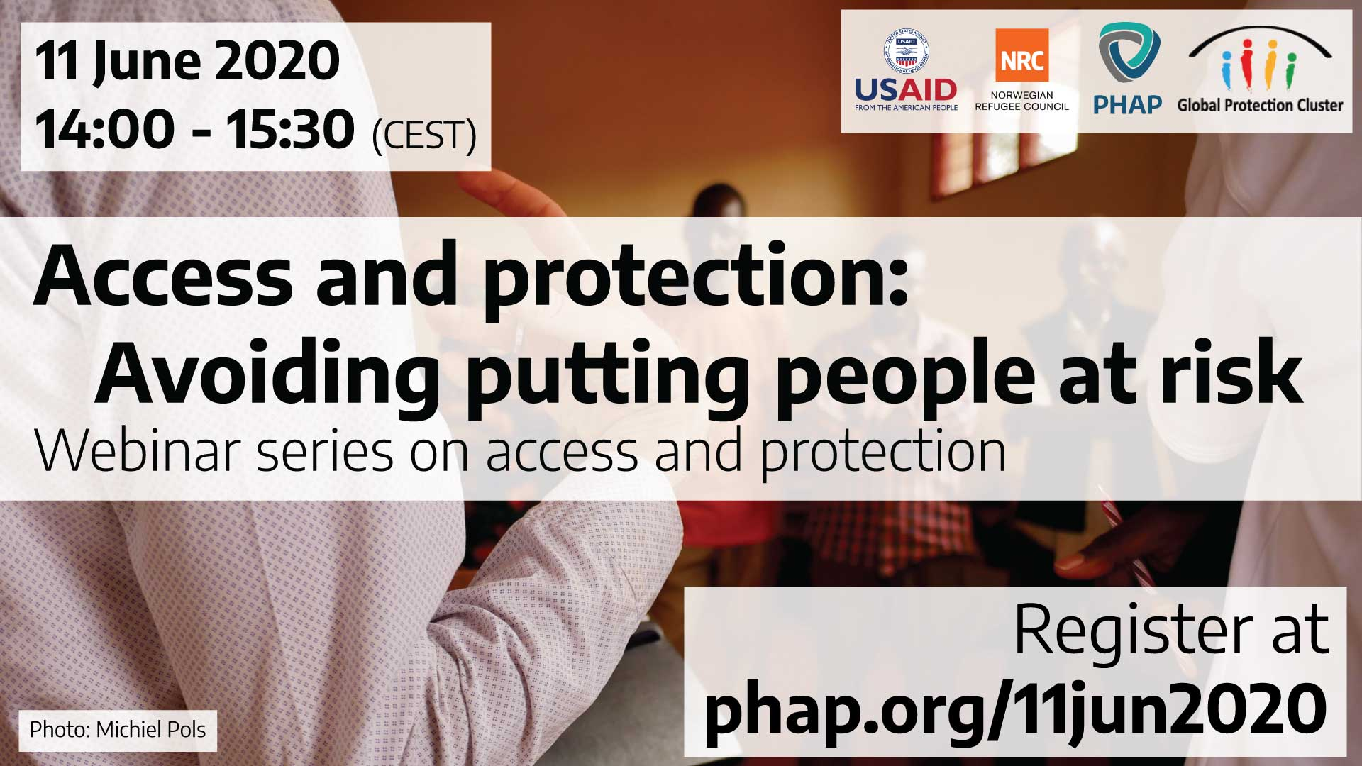 Banner for the webinar Access and protection: Avoiding putting people at risk