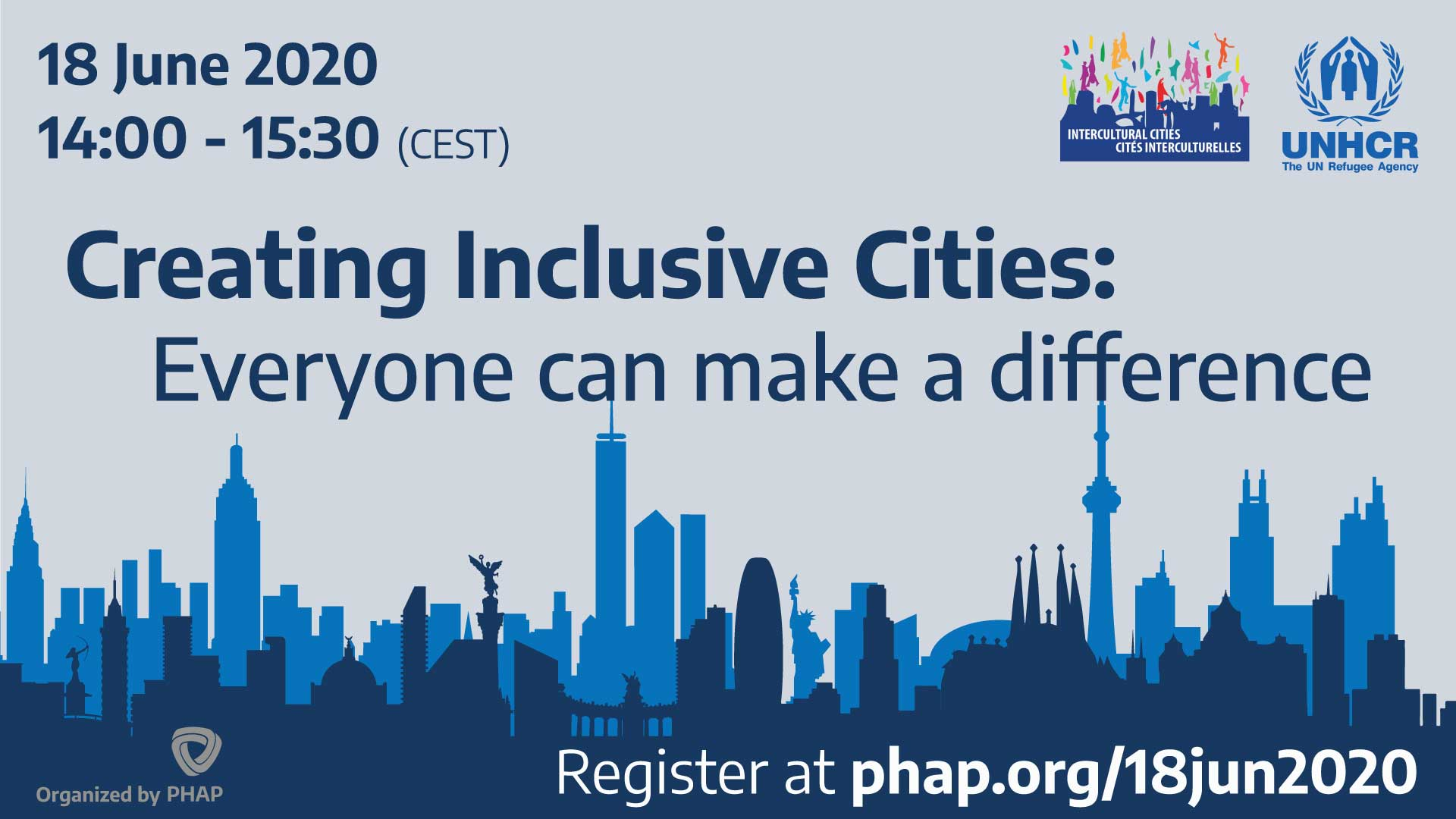 Banner for the webinar The role of cities in the inclusion of refugees