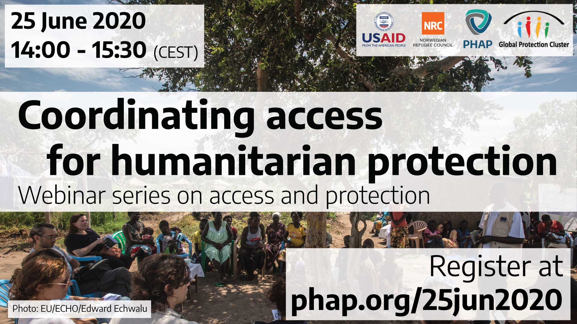 Banner for the webinar Coordinating access for humanitarian protection