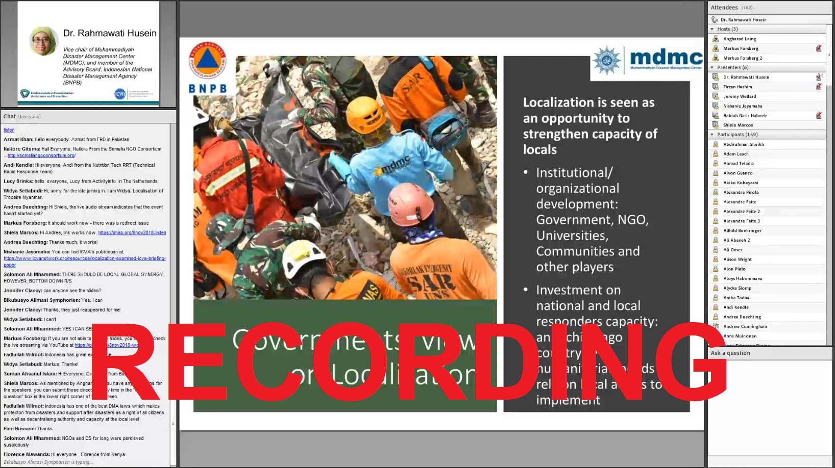 Snapshot of Presentation showing the rescuers in a disaster affected area