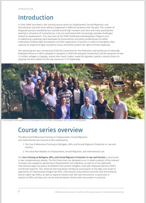 Introduction page of a training course, with group photo of people.