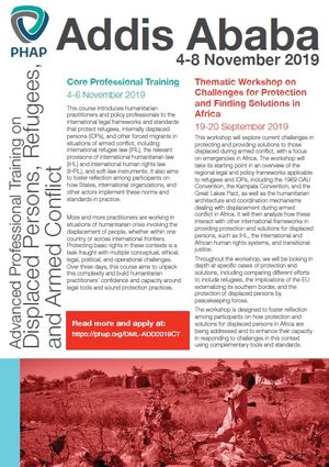 Brochure for the Addis Ababa 2019 Core Professional Training on Displaced Persons, Refugees, and Armed Conflict: Protection in Law and Practice