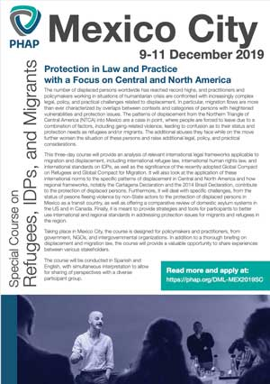 Brochure for the Mexico City 2019 Special Course on Refugees, IDPs, and Migrants: Protection in Law and Practice with a Focus on Central and North America