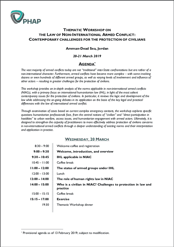 Agenda for the Amman Dead Sea 2019 Thematic Workshop on the Law of Non- 9c48bc22ee1
