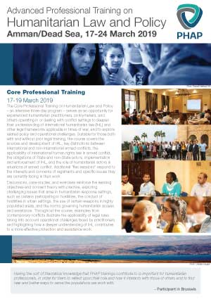 Brochure for the Amman/Dead Sea 2019 Advanced Professional Training on Humanitarian Law and Policy