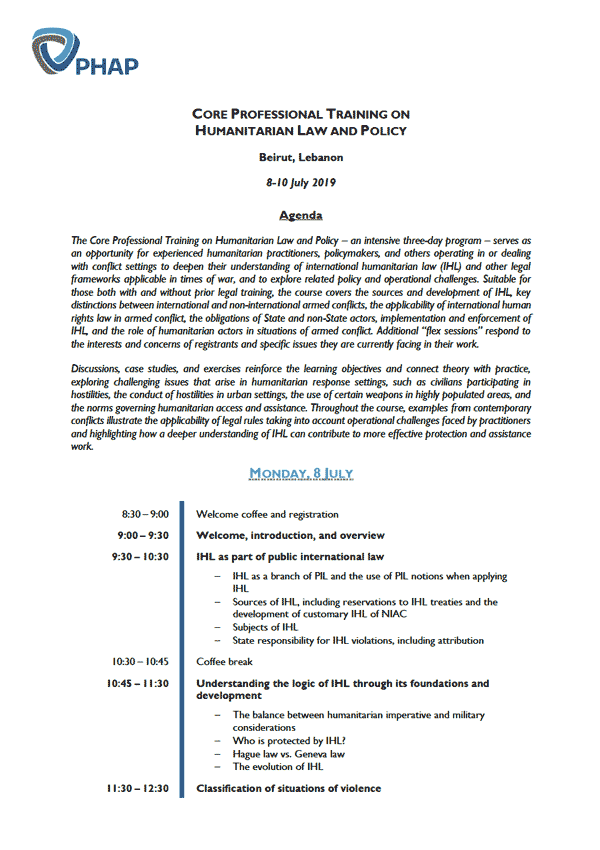 Agenda for the Brussels 2019 Core Professional Training on Humanitarian Law and Policy