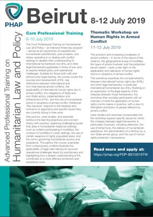 Brochure for the Geneva 2019 Advanced Professional Training on Humanitarian Law and Policy