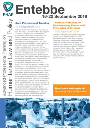 Brochure for the Entebbe 2019 Advanced Professional Training on Humanitarian Law and Policy