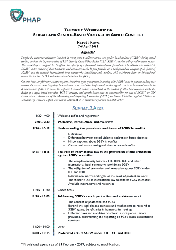 Agenda for the Amman/Dead Sea 2019 Core Professional Training on Humanitarian Law and Policy