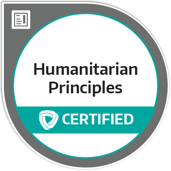 Certification badge for Applying Humanitarian Principles in Practice (AHPP)