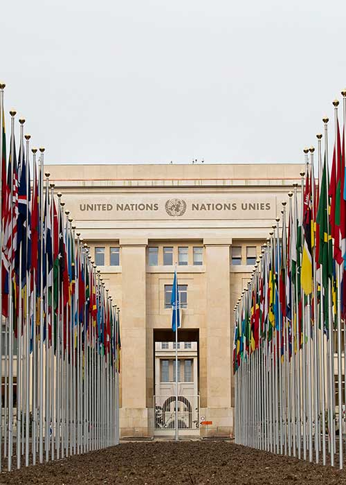 The United Nations office in Geneva (Palais des Nations) with the flags of all member states