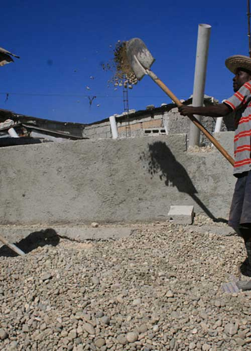 Volunteer workers rebuilding after the Haiti earthquake