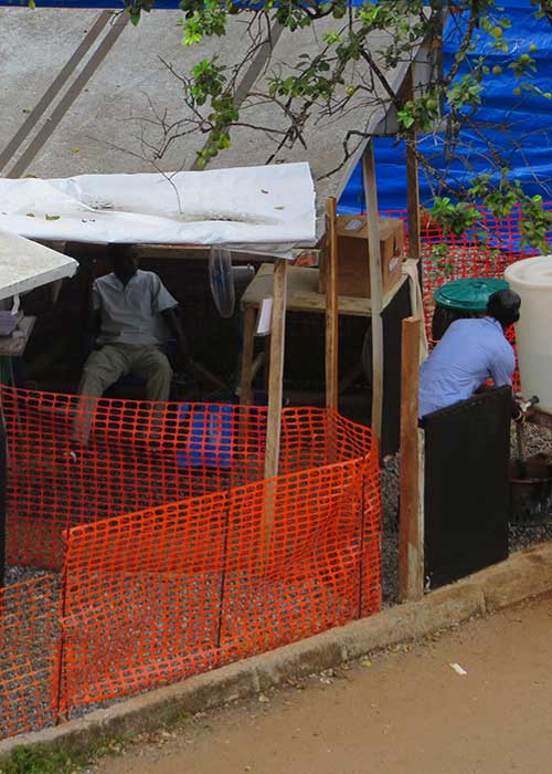 Humanitarian workers outside their quarters