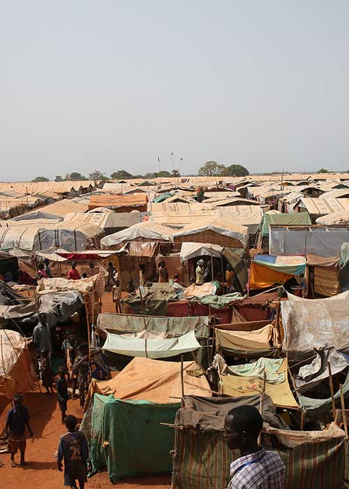 View of roofs of shelters in a camp in South Sudan